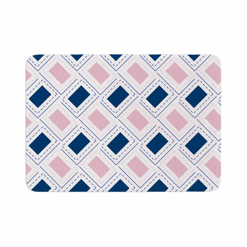 "afe images ""AFE Pink And Blue Pattern"" Blue Pink Geometric Pattern Digital Illustration Memory Foam Bath Mat"