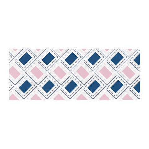 "afe images ""AFE Pink And Blue Pattern"" Blue Pink Geometric Pattern Digital Illustration Bed Runner"