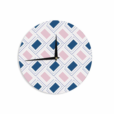 "afe images ""AFE Pink And Blue Pattern"" Blue Pink Geometric Pattern Digital Illustration Wall Clock"