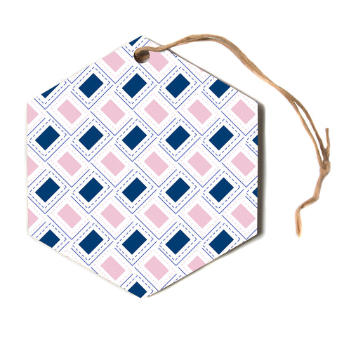 "afe images ""AFE Pink And Blue Pattern"" Blue Pink Geometric Pattern Digital Illustration Hexagon Holiday Ornament"