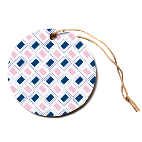 "afe images ""AFE Pink And Blue Pattern"" Blue Pink Geometric Pattern Digital Illustration Circle Holiday Ornament"
