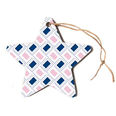 "afe images ""AFE Pink And Blue Pattern"" Blue Pink Geometric Pattern Digital Illustration Star Holiday Ornament"