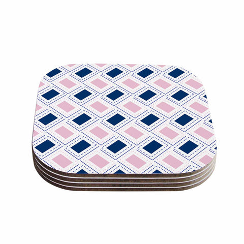 "afe images ""AFE Pink And Blue Pattern"" Blue Pink Geometric Pattern Digital Illustration Coasters (Set of 4)"