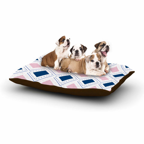 "afe images ""AFE Pink And Blue Pattern"" Blue Pink Geometric Pattern Digital Illustration Dog Bed"