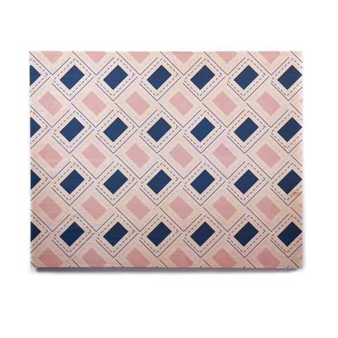 "afe images ""AFE Pink And Blue Pattern"" Blue Pink Geometric Pattern Digital Illustration Birchwood Wall Art"