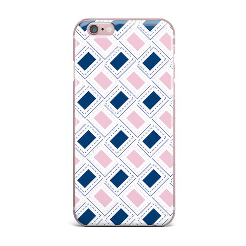 "afe images ""AFE Pink And Blue Pattern"" Blue Pink Geometric Pattern Digital Illustration iPhone Case"