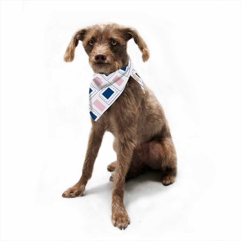 "afe images ""AFE Pink And Blue Pattern"" Blue Pink Geometric Pattern Digital Illustration Pet Bandana"