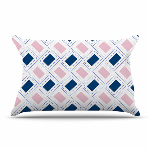 "afe images ""AFE Pink And Blue Pattern"" Blue Pink Geometric Pattern Digital Illustration Pillow Sham"