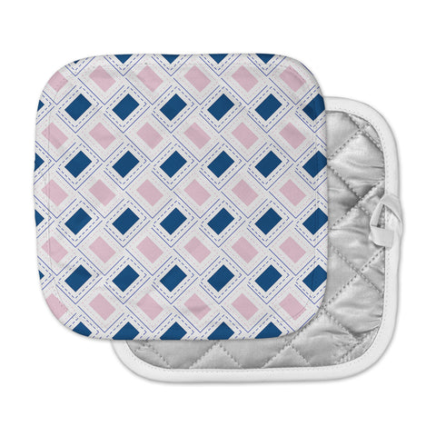 "afe images ""AFE Pink And Blue Pattern"" Blue Pink Geometric Pattern Digital Illustration Pot Holder"