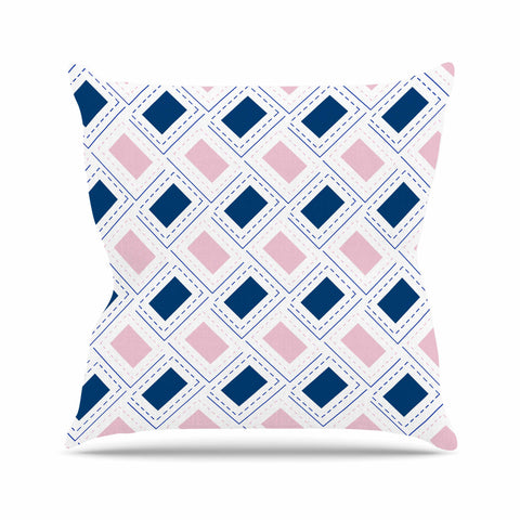 "afe images ""AFE Pink And Blue Pattern"" Blue Pink Geometric Pattern Digital Illustration Outdoor Throw Pillow"