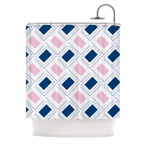 "afe images ""AFE Pink And Blue Pattern"" Blue Pink Geometric Pattern Digital Illustration Shower Curtain"