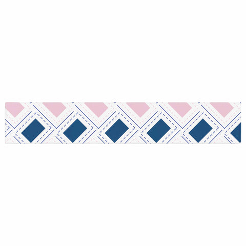 "afe images ""AFE Pink And Blue Pattern"" Blue Pink Geometric Pattern Digital Illustration Table Runner"