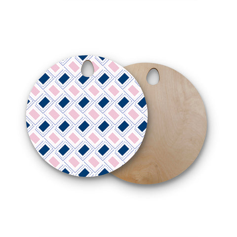 "afe images ""AFE Pink And Blue Pattern"" Blue Pink Geometric Pattern Digital Illustration Round Wooden Cutting Board"