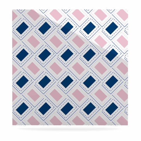 "afe images ""AFE Pink And Blue Pattern"" Blue Pink Geometric Pattern Digital Illustration Luxe Square Panel"