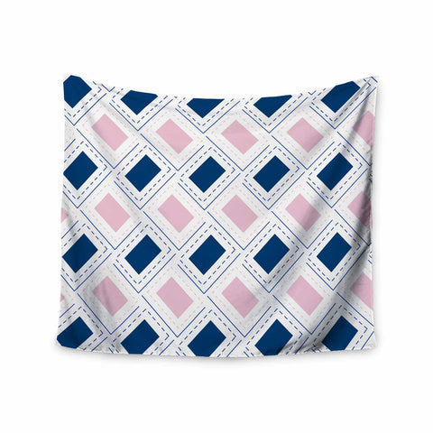 "afe images ""AFE Pink And Blue Pattern"" Blue Pink Geometric Pattern Digital Illustration Wall Tapestry"