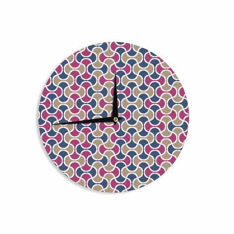 "afe images ""AFE Ogee Pattern"" Blue Red Pattern Abstract Digital Illustration Wall Clock"