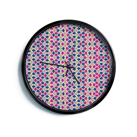 "afe images ""AFE Ogee Pattern"" Blue Red Pattern Abstract Digital Illustration Modern Wall Clock"