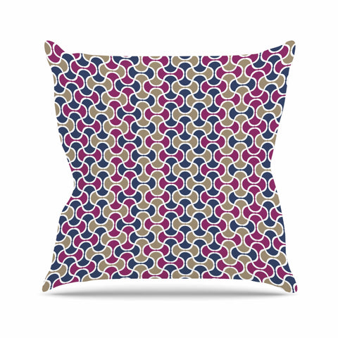 "afe images ""AFE Ogee Pattern"" Blue Red Pattern Abstract Digital Illustration Outdoor Throw Pillow"