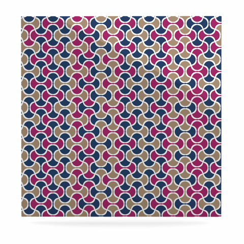 "afe images ""AFE Ogee Pattern"" Blue Red Pattern Abstract Digital Illustration Luxe Square Panel"