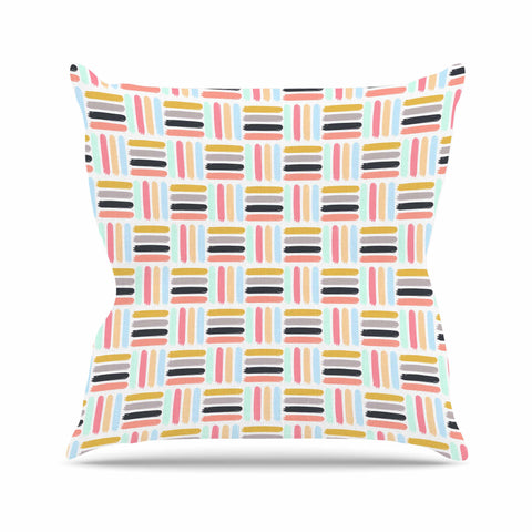 "afe images ""AFE Modern Basket Weave"" Coral Blue Abstract Pattern Digital Illustration Outdoor Throw Pillow"