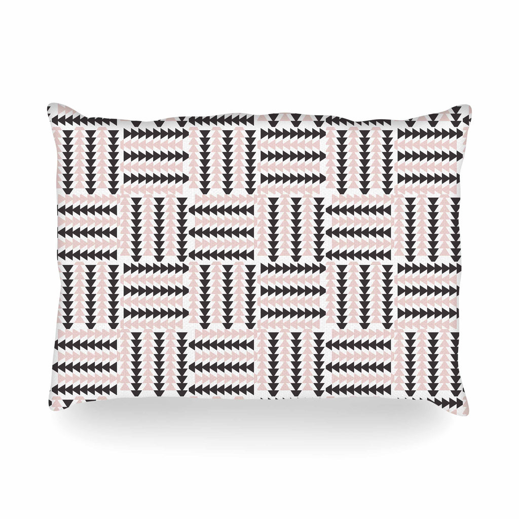 "afe images ""AFE Basket Weave2"" Black Pink Abstract Pattern Digital Illustration Oblong Pillow"