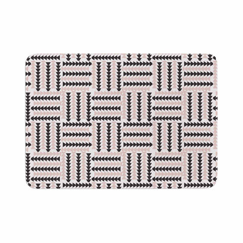 "afe images ""AFE Basket Weave2"" Black Pink Abstract Pattern Digital Illustration Memory Foam Bath Mat"