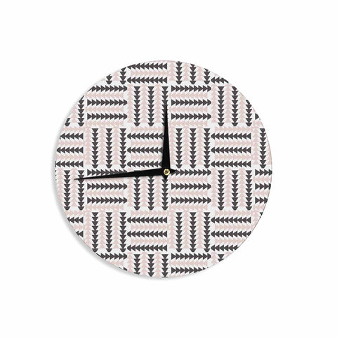 "afe images ""AFE Basket Weave2"" Black Pink Abstract Pattern Digital Illustration Wall Clock"
