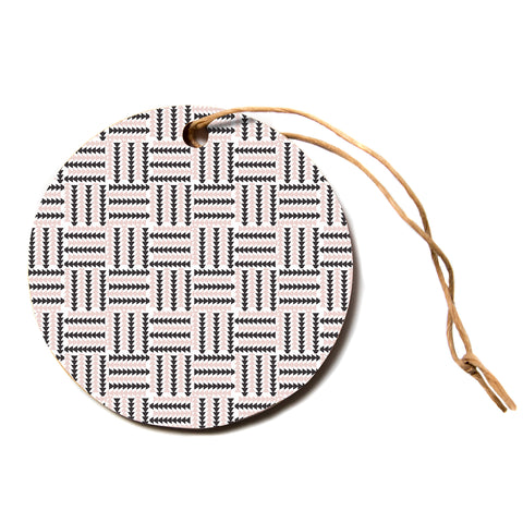"afe images ""AFE Basket Weave2"" Black Pink Abstract Pattern Digital Illustration Circle Holiday Ornament"