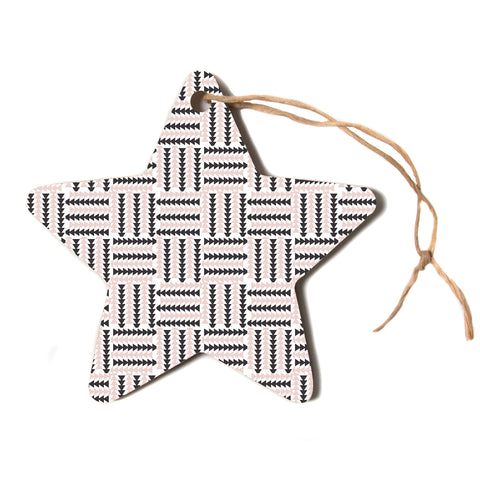 "afe images ""AFE Basket Weave2"" Black Pink Abstract Pattern Digital Illustration Star Holiday Ornament"