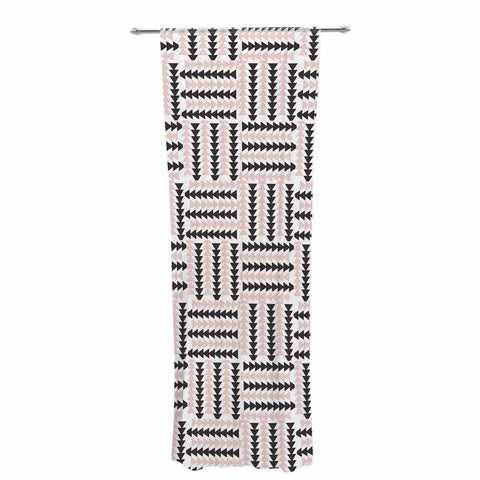 "afe images ""AFE Basket Weave2"" Black Pink Abstract Pattern Digital Illustration Decorative Sheer Curtain"