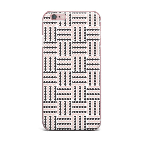 "afe images ""AFE Basket Weave2"" Black Pink Abstract Pattern Digital Illustration iPhone Case"