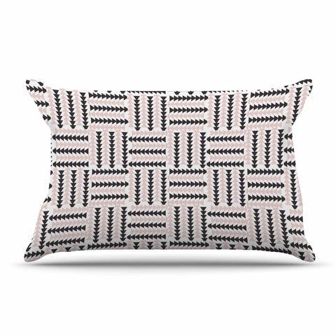 "afe images ""AFE Basket Weave2"" Black Pink Abstract Pattern Digital Illustration Pillow Sham"