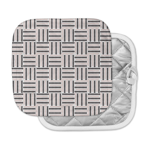 "afe images ""AFE Basket Weave2"" Black Pink Abstract Pattern Digital Illustration Pot Holder"