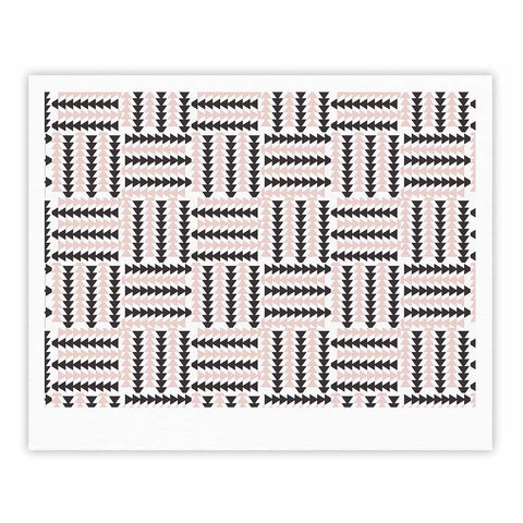 "afe images ""AFE Basket Weave2"" Black Pink Abstract Pattern Digital Illustration Fine Art Gallery Print"