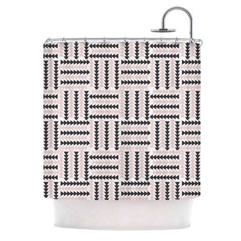 "afe images ""AFE Basket Weave2"" Black Pink Abstract Pattern Digital Illustration Shower Curtain"