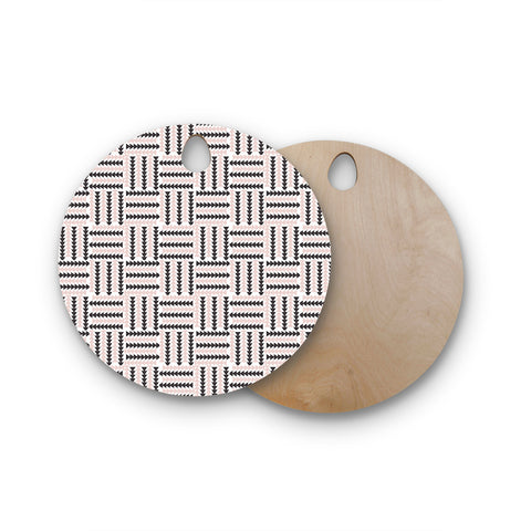 "afe images ""AFE Basket Weave2"" Black Pink Abstract Pattern Digital Illustration Round Wooden Cutting Board"