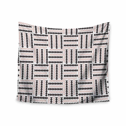 "afe images ""AFE Basket Weave2"" Black Pink Abstract Pattern Digital Illustration Wall Tapestry"