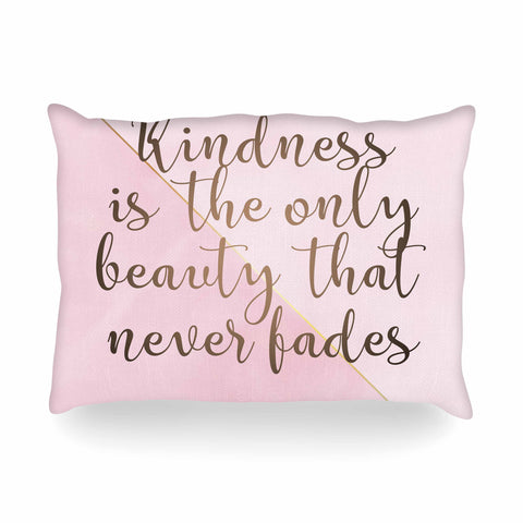 "afe images ""AFE Kindness"" Pink Gold Typography Modern Digital Illustration Oblong Pillow"