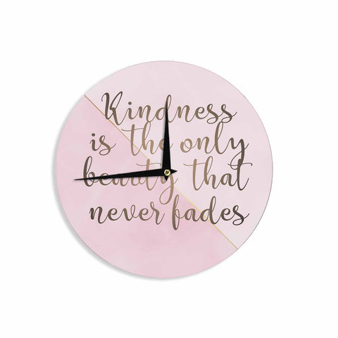 "afe images ""AFE Kindness"" Pink Gold Typography Modern Digital Illustration Wall Clock"