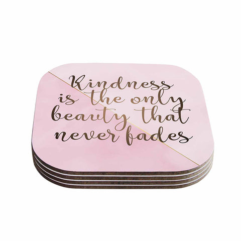 "afe images ""AFE Kindness"" Pink Gold Typography Modern Digital Illustration Coasters (Set of 4)"