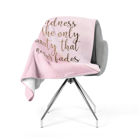 "afe images ""AFE Kindness"" Pink Gold Typography Modern Digital Illustration Fleece Throw Blanket"
