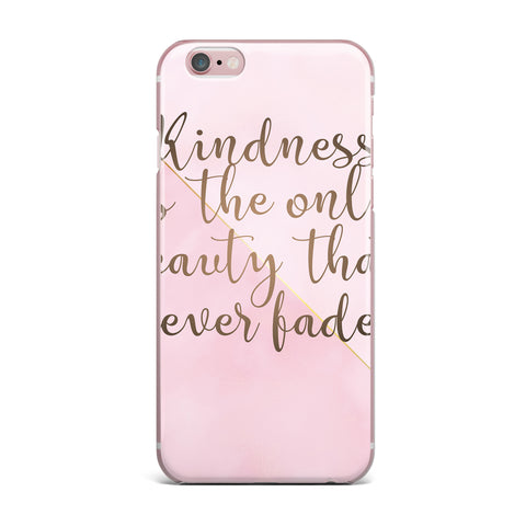 "afe images ""AFE Kindness"" Pink Gold Typography Modern Digital Illustration iPhone Case"