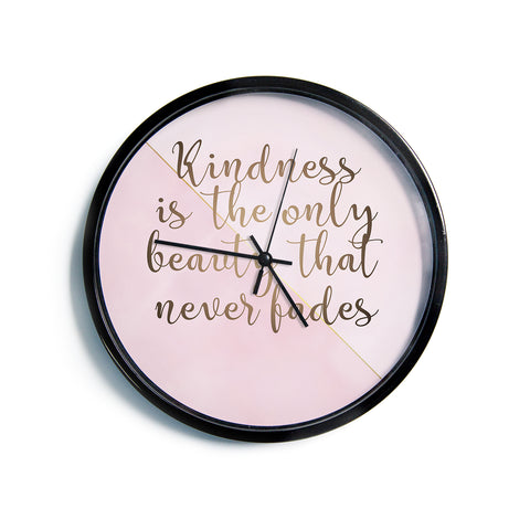"afe images ""AFE Kindness"" Pink Gold Typography Modern Digital Illustration Modern Wall Clock"