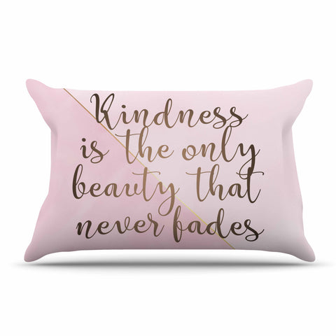 "afe images ""AFE Kindness"" Pink Gold Typography Modern Digital Illustration Pillow Sham"