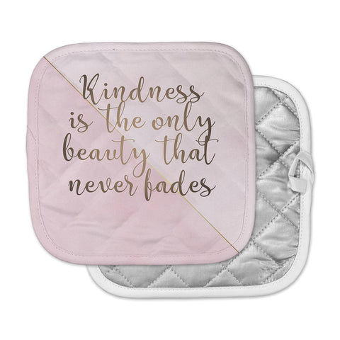"afe images ""AFE Kindness"" Pink Gold Typography Modern Digital Illustration Pot Holder"