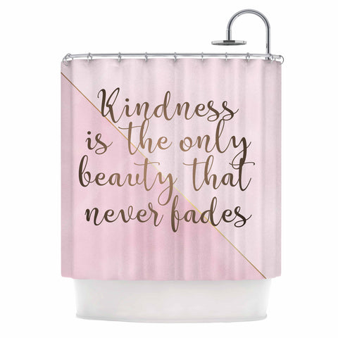 "afe images ""AFE Kindness"" Pink Gold Typography Modern Digital Illustration Shower Curtain"