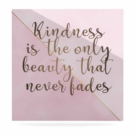 "afe images ""AFE Kindness"" Pink Gold Typography Modern Digital Illustration Luxe Square Panel"