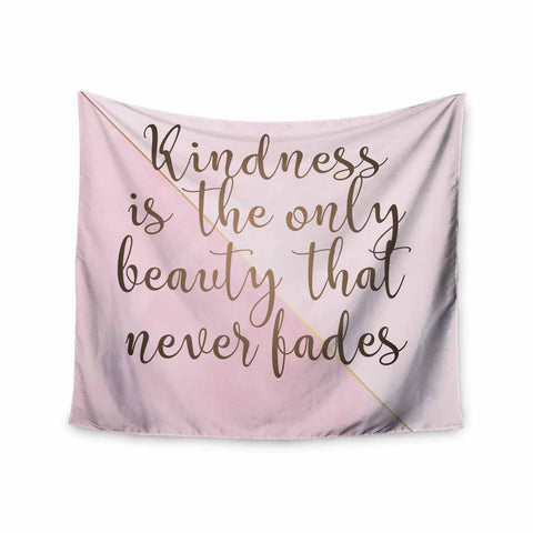 "afe images ""AFE Kindness"" Pink Gold Typography Modern Digital Illustration Wall Tapestry"