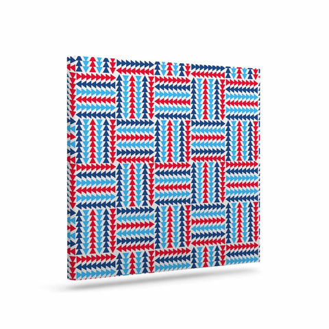 "afe images ""AFE Abstract Basket Weave"" Red Blue Abstract Pattern Digital Illustration Art Canvas"