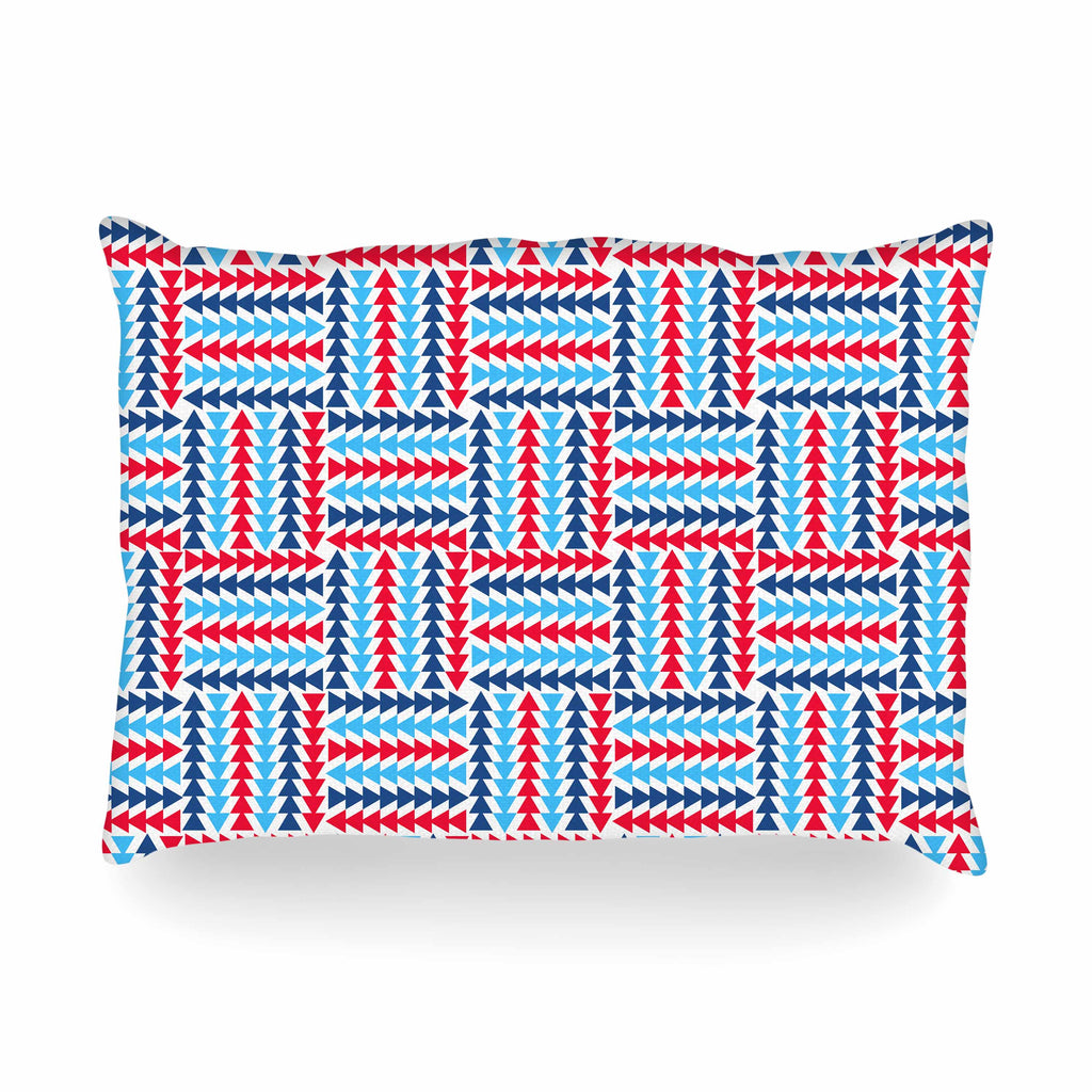 "afe images ""AFE Abstract Basket Weave"" Red Blue Abstract Pattern Digital Illustration Oblong Pillow"